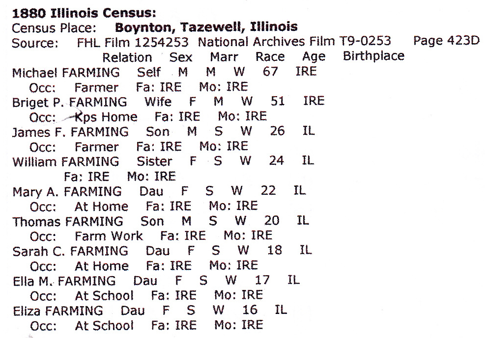 1880 Illinois Census Boynton