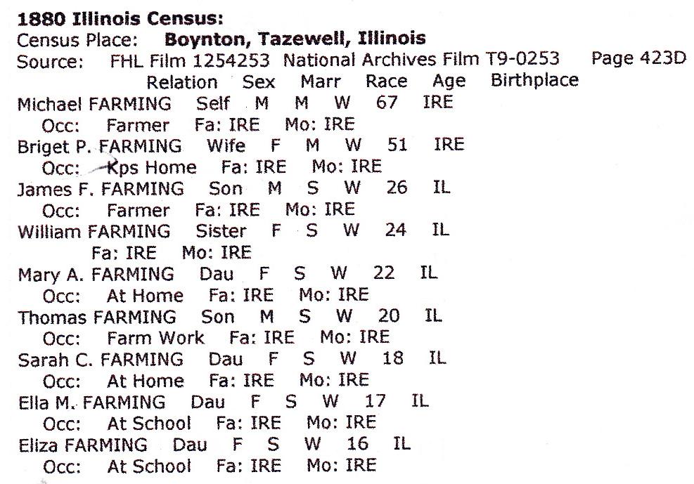 1880 Illinois Census Boynton