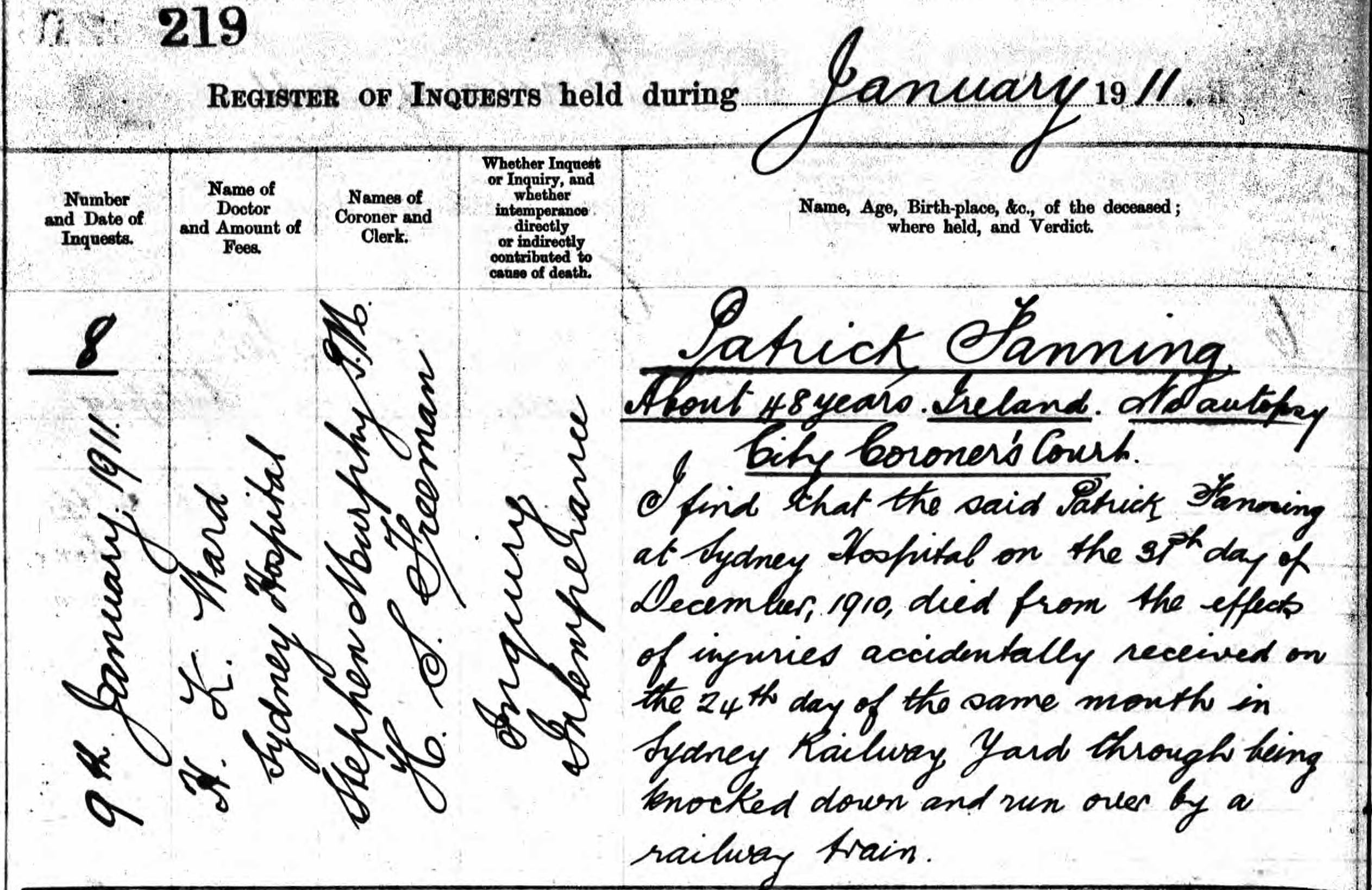 Fanning family history page 3 genealogy of the fanning family sydney morning herald 10 jan 1911 coroners report on the death of patrick fanning aiddatafo Choice Image