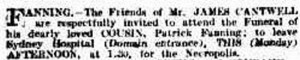 Funeral notice for Patrick Fanning SMH 2 Jan 1911