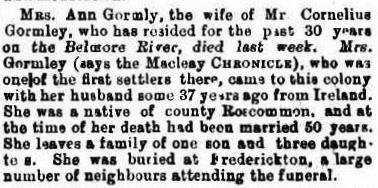 Ann Gormley nee McDermott Obit Freemans Journal 14 Mar 1891cr