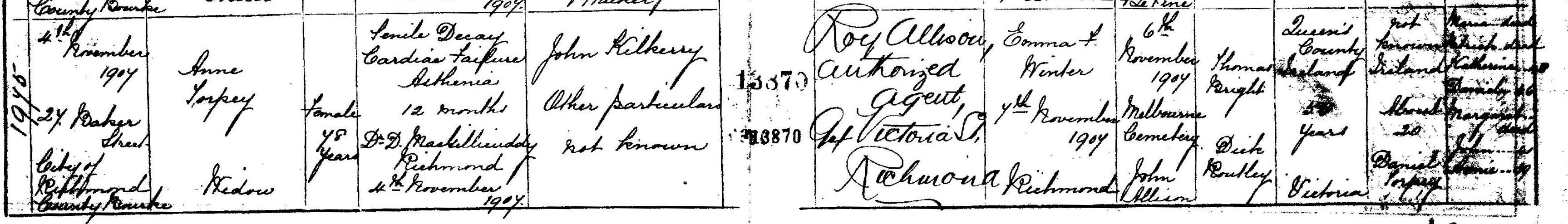 Anne Kilkeary Death Certificate 1907CR