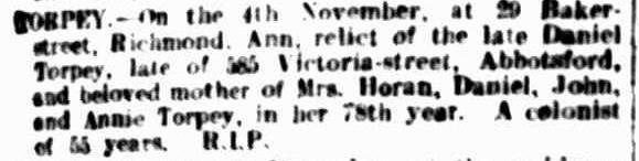 Anne Torpey nee Kilkeary Death Notice Argus 7 Nov 1907