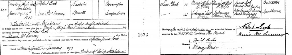 Annie McSweeney and Robert Cook Marriage