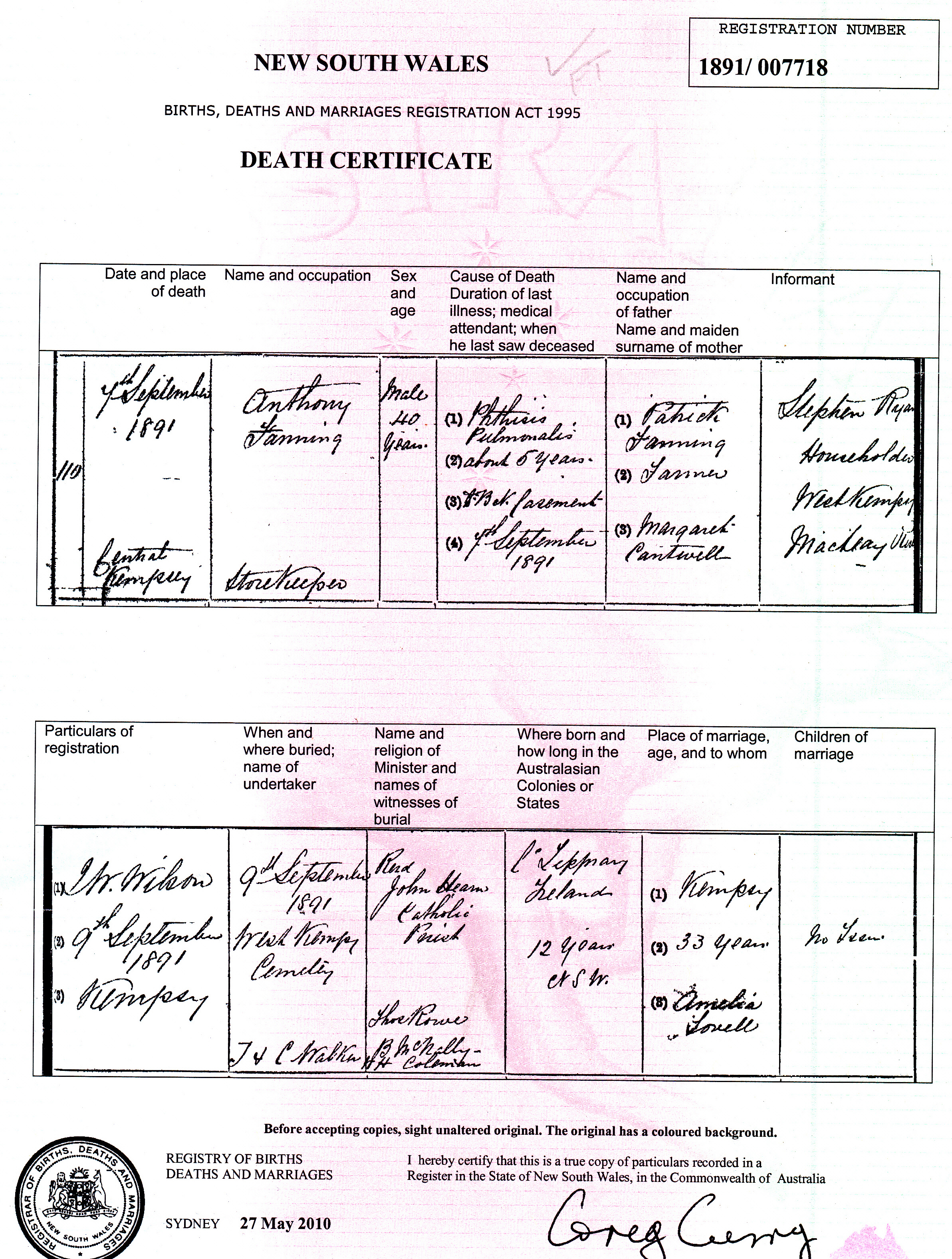 Anthony Fanning Death Certificate 1891 NSW_NEW