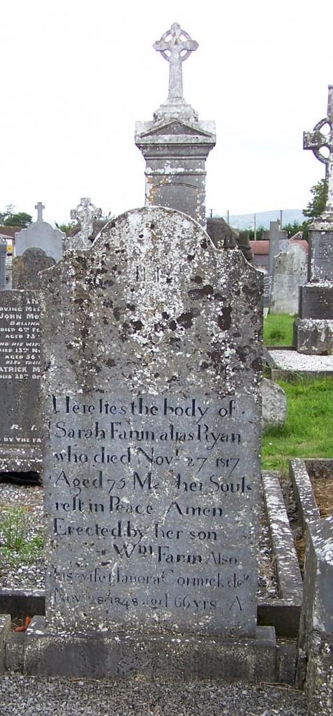 Ballycahill Cemetery Sarah Fannin nee Ryan died 1817