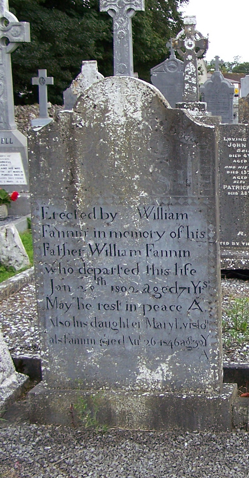 Ballycahill Cemetery William Fannin died 1802