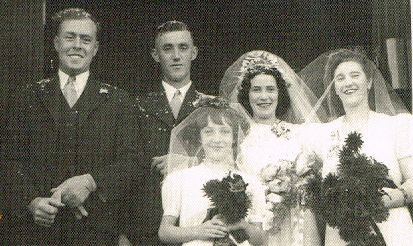 Bobby and Kath Wilsons wedding, Jacky Wilson best man on left