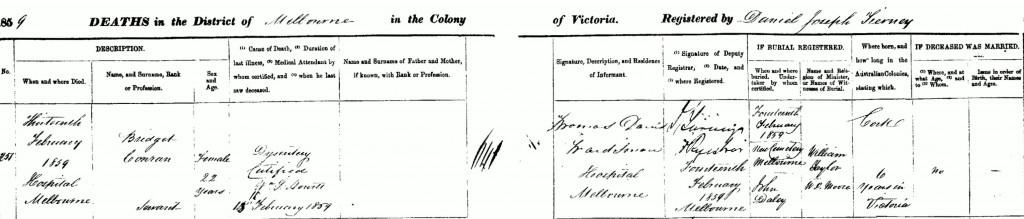 Bridget Conran (Condon) Death 1859