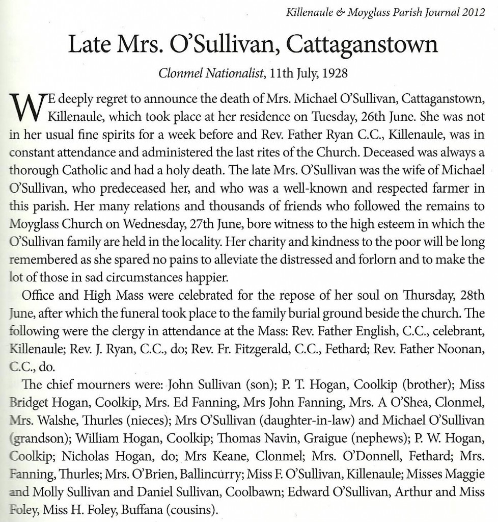 Bridget O'Sullivan nee Hogan Funeral Notice Clonmel Nationalist 11th July 1928c