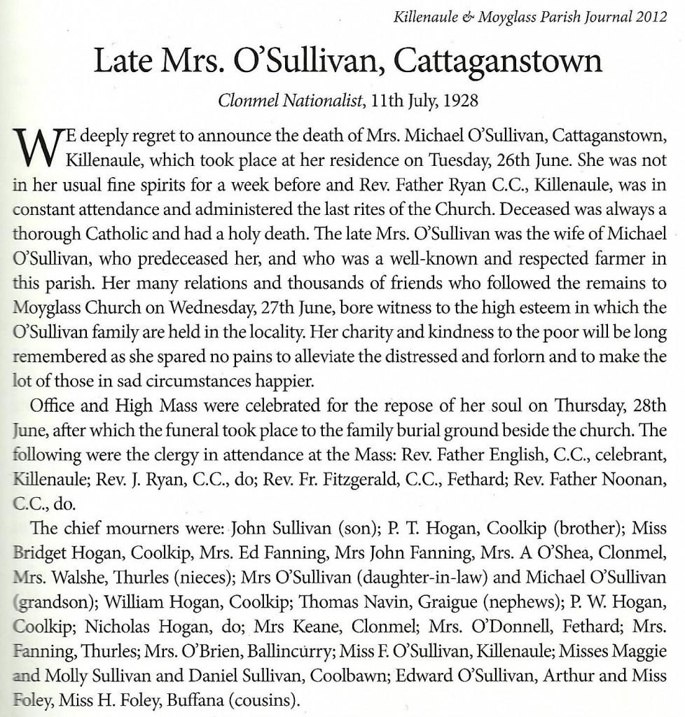 Bridget O'Sullivan nee Hogan Funeral Notice Clonmel Nationalist 11th July 1928c