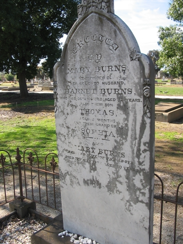 Burns Headstone Moama Cemetery