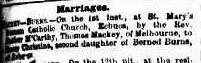 Burns Mackey Marriage 1882 Argus (1)