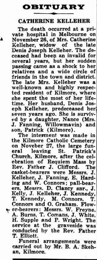 Catherine Kelleher Obit Kilmore Free Press 4 Dec 1947