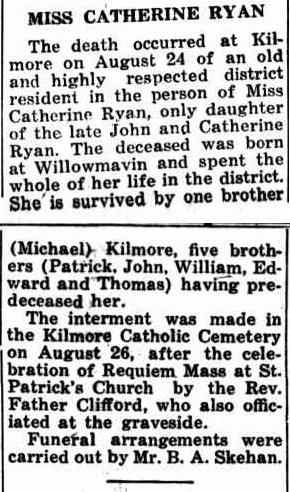 Catherine Ryan Obit Kilmore Free Press 2 Sept 1948