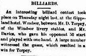 Daniel Torpey Billiards Prahran Telegraph 28 Aug 1889