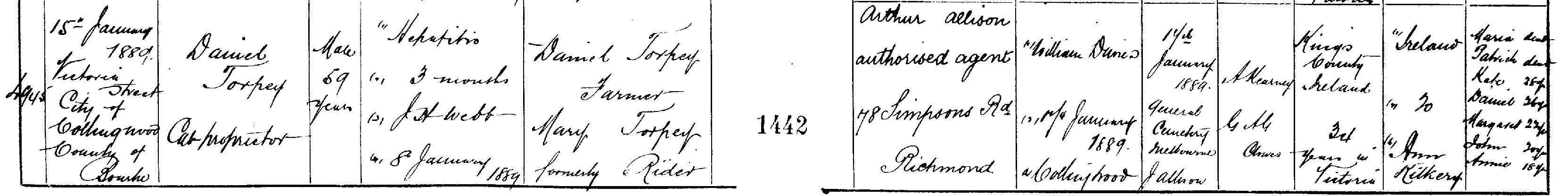 Daniel Torpey Death Certificate 1889 cr