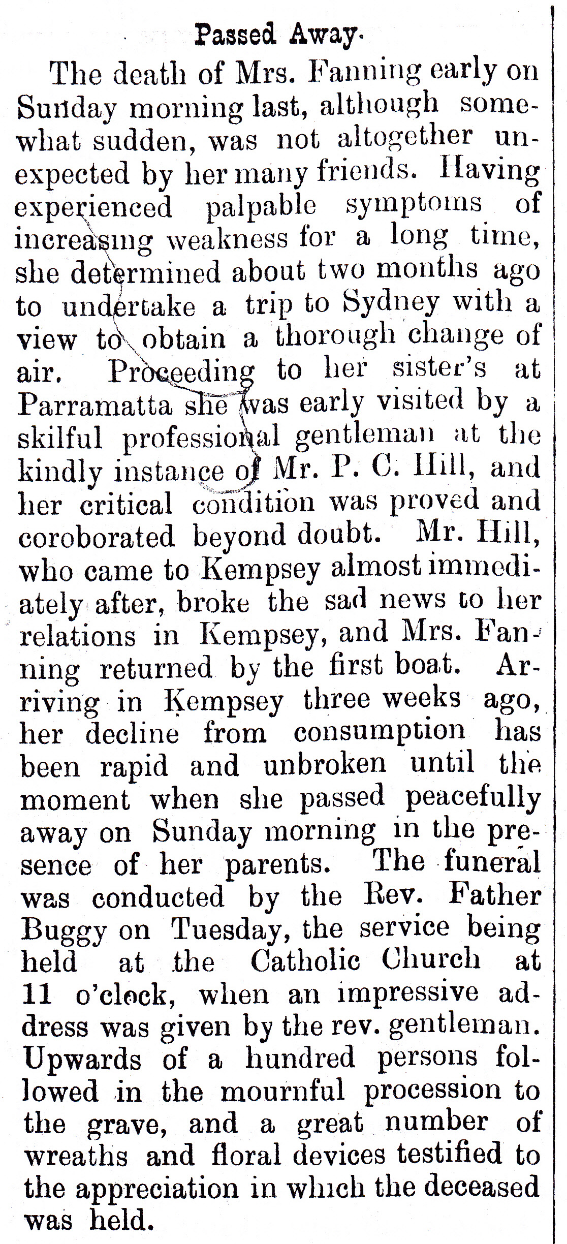 Death of Amelia Lovell 1890 Kempsey_NEW
