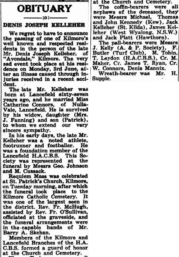 Denis Joseph Kelleher Obit Kilmore Free press 13 June 1940