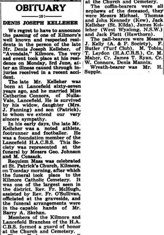 Denis Joseph Kelleher Obit Kilmore Free press 13 June 1940