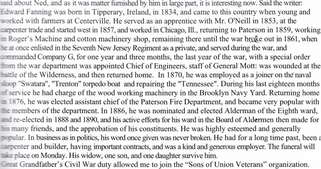 Edward Fanning 1834-1900 Tipperary to Paterson NJ