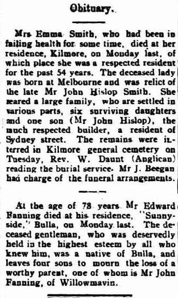 Edward Fanning Obit Kilmore Free Press 13 Jan 1927