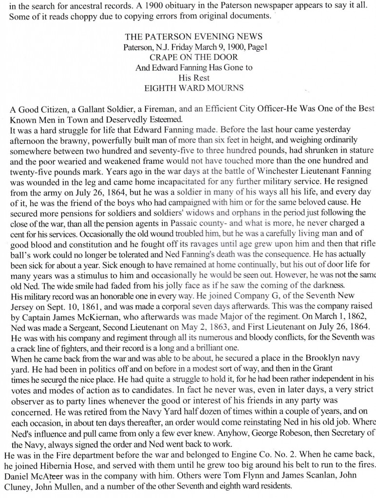 Edward Fanning Paterson 1834-1900 Obit st