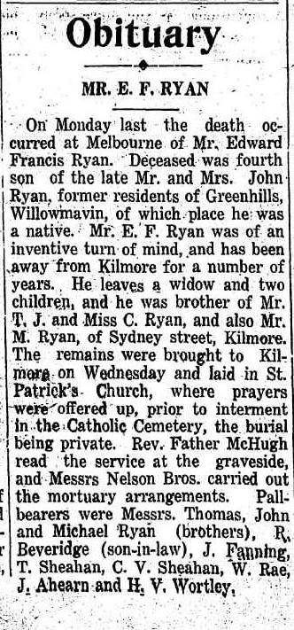 Edward Francis Ryan Obit KIlmore Free Press 6 Feb 1936