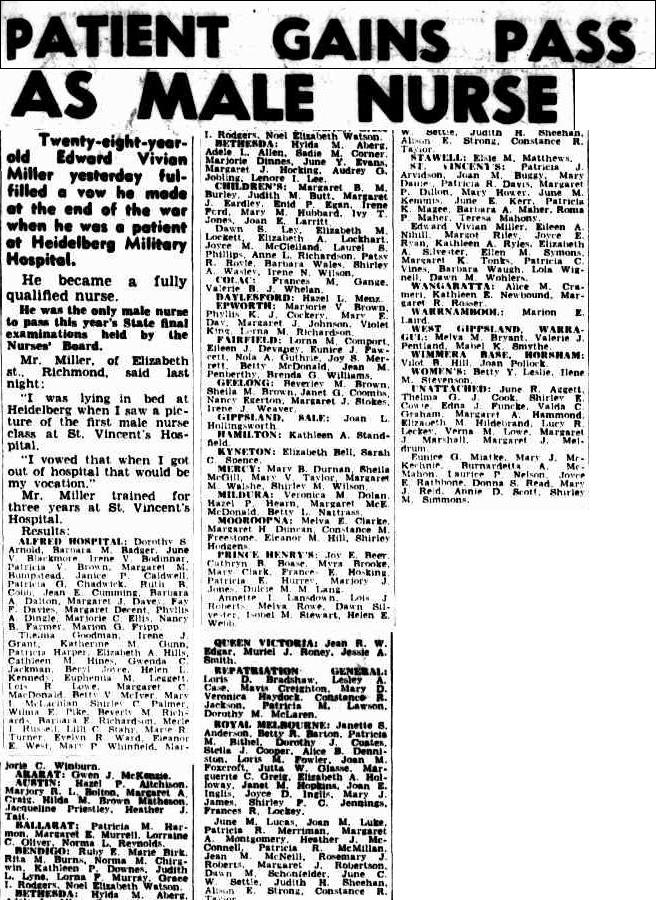 Edward Vivian Ted Miller Passes Nursing Exam The Argus 23 Nov 1951