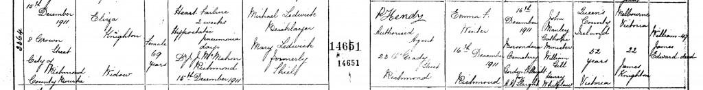 Eliza Knighton nee Ledwick Death Certificate 1911.jpg cropped