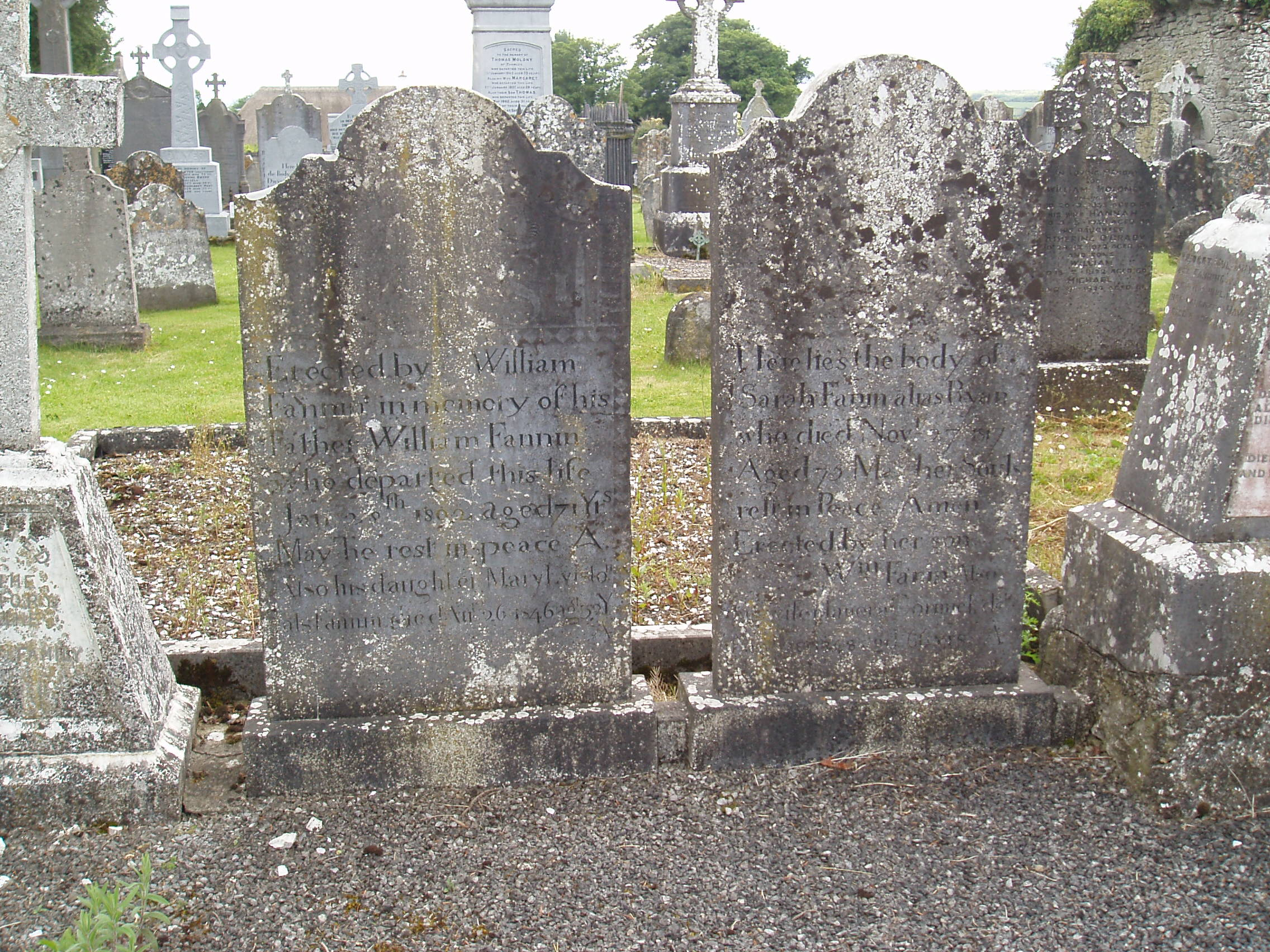 Gravestones of William Fannin died 1802 and his wife Sarah Fannin died 1817 both of Lissaroon.