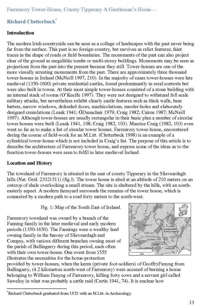 Farranrory Tower House Richard Clutterbuck Trowel 1998 p13