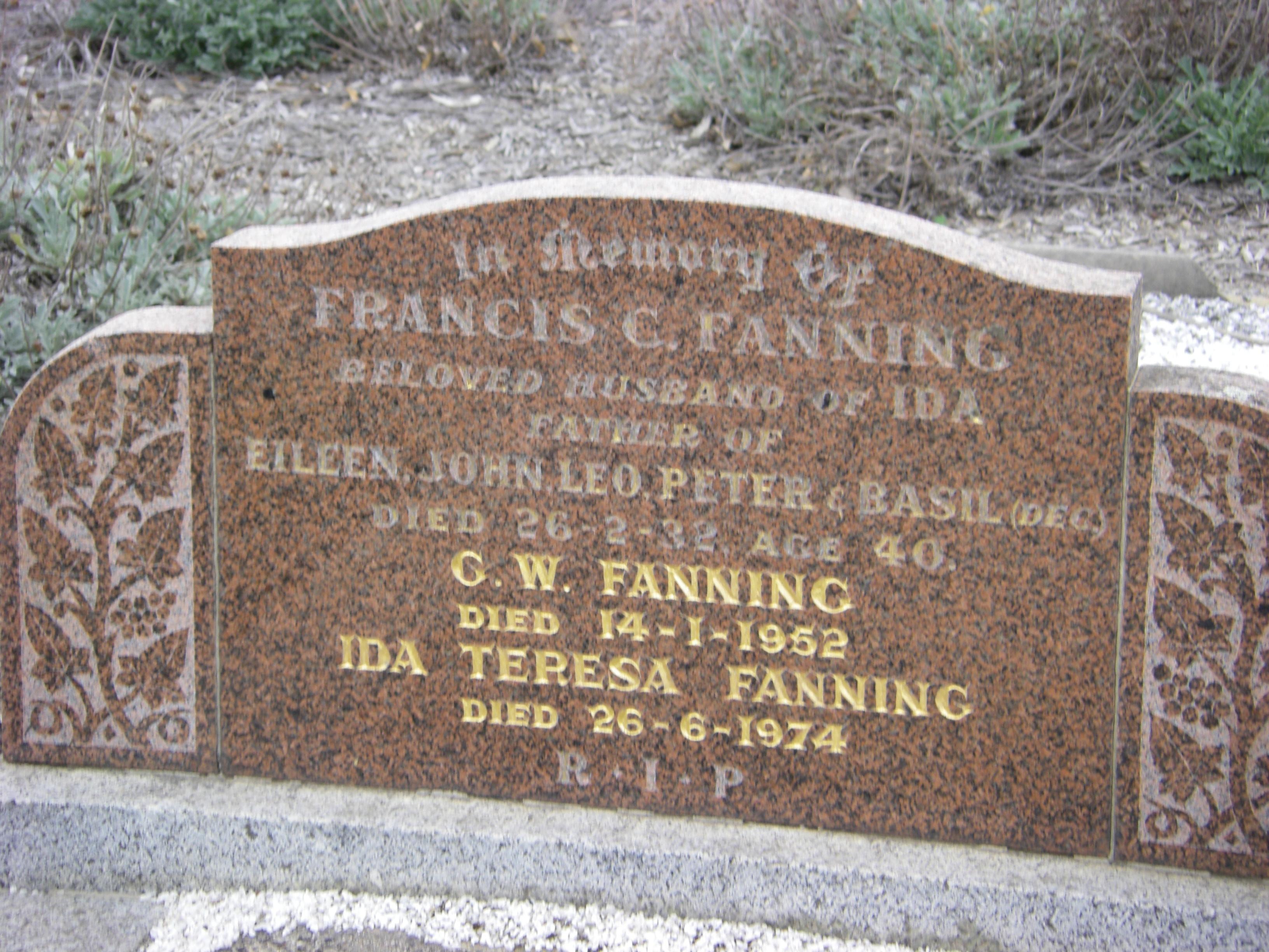 Francis Collins Fanning 1932, Ida Fanning 1974 & G.W. Fanning 1952 Fawkner Cem.
