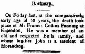 Francis Collins Fanning Obit Kilmore Free Press 3 Mar 1932 cr