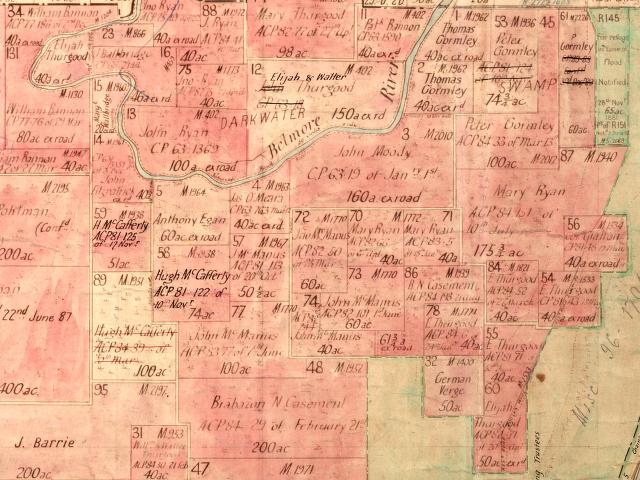 Gormley Parish Map Peter & Thos Gormley Land in Beranghi Parish Darkwater Creek NSW