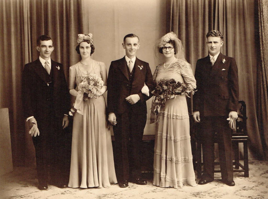 Grace Cook and Arthur White Wedding Allan Turner on right and Bloss Skinner bridesmaid 20 Dec 1941