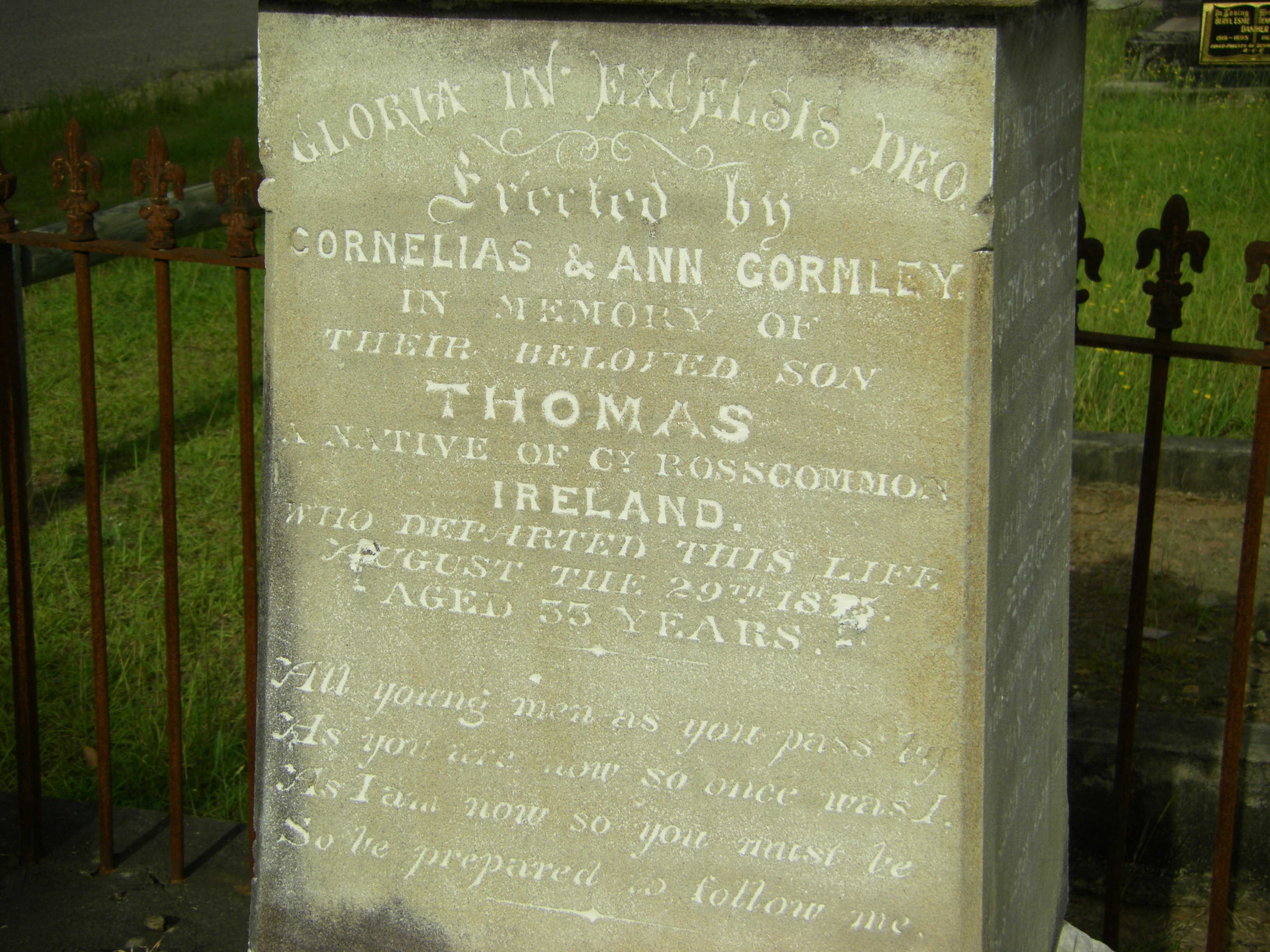 Grave of Thomas Gormley 1875