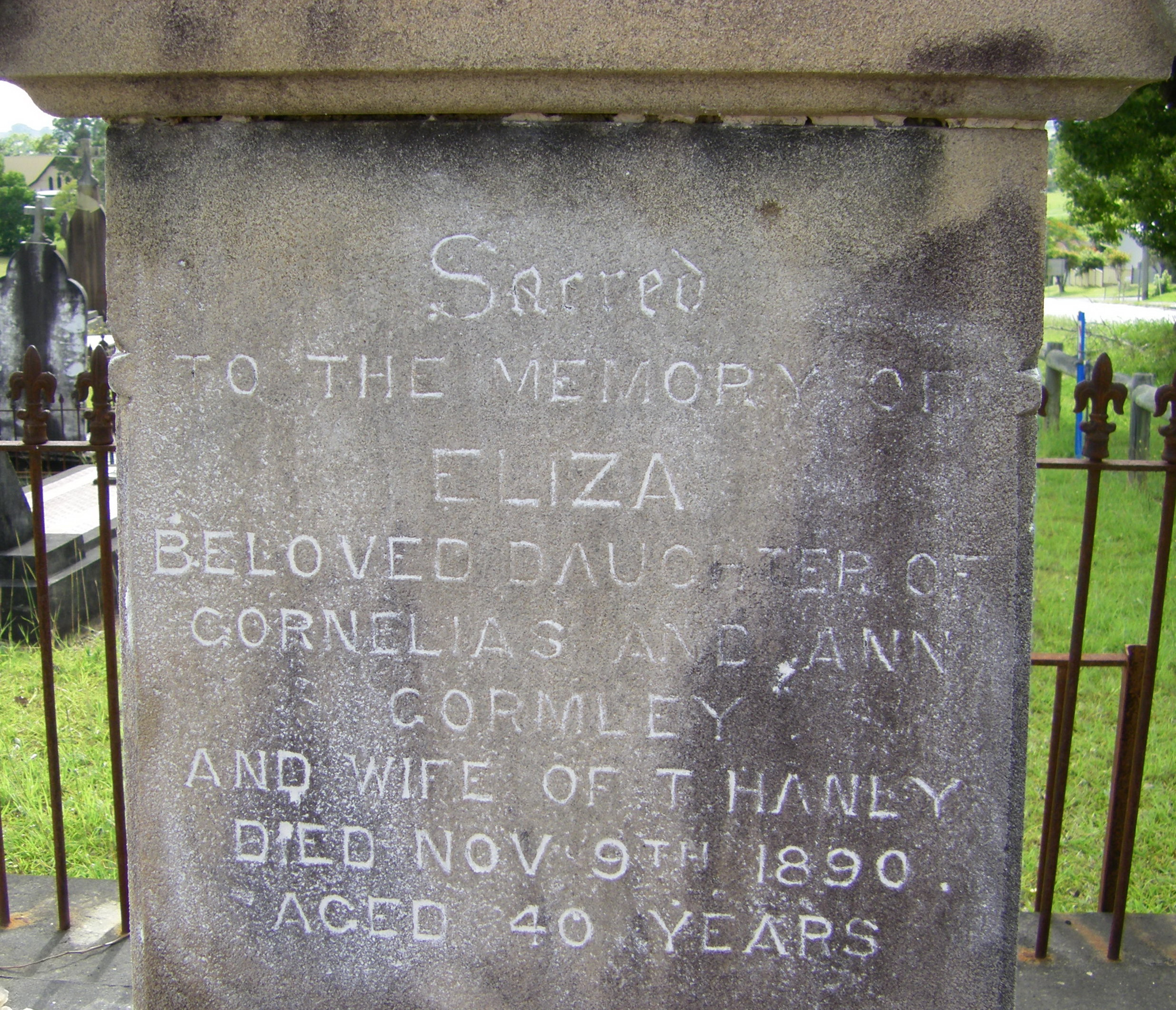 Gravestone of Eliza Hanley nee Gormley