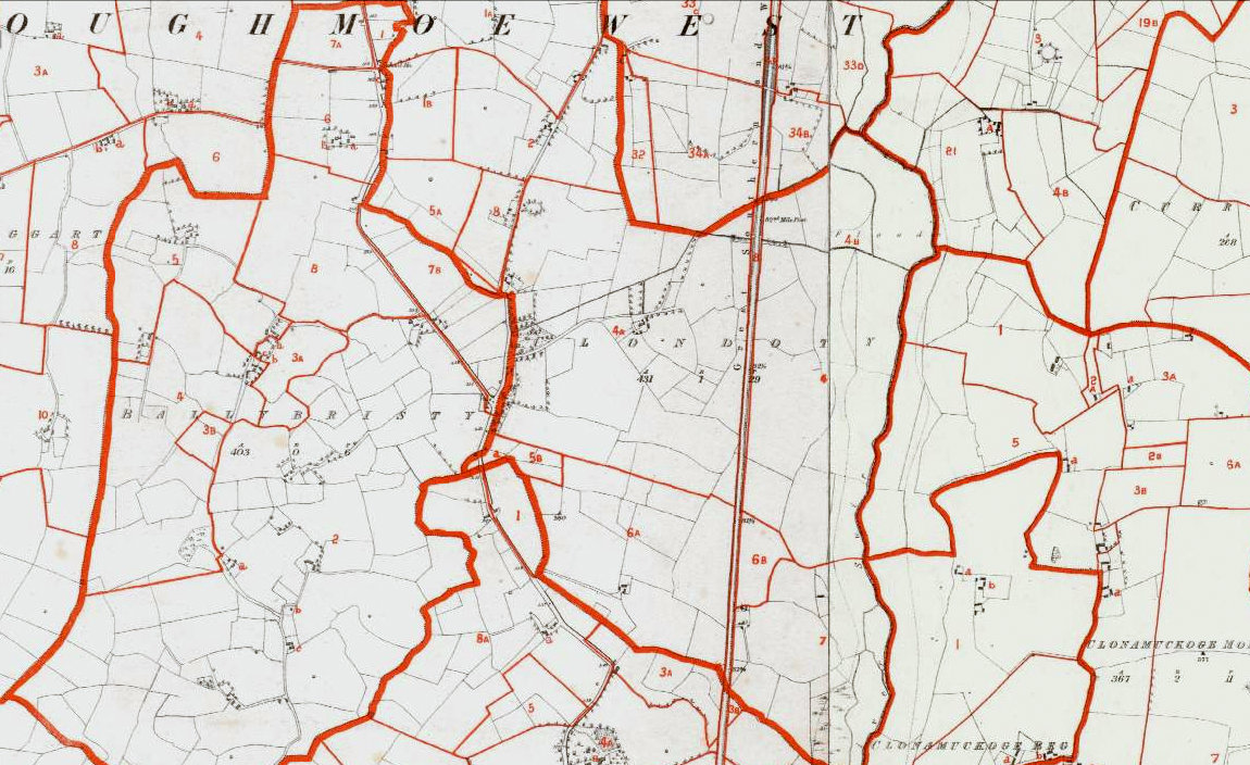 Griffiths Valuation Map of Clondoty about 1849