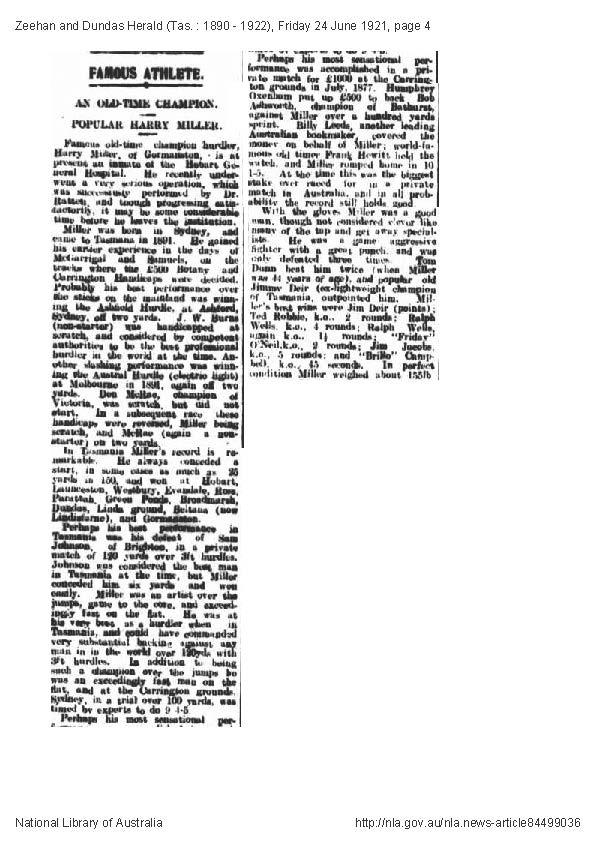 Harry Darkie Miller Zeehan & Dundas Herald 24 June 1921