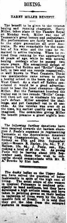 Harry Miller Benefit 20 Aug The Hobart Mercury 1921
