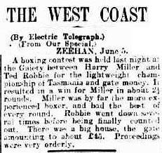 Harry Miller Fight 1904 Hobart Mercury June 6 1904