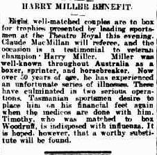 Harry Miller The Mercury Hobart 29 Aug 1921