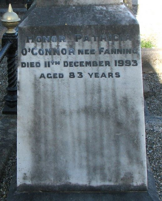 Honor O'Connor nee Fanning, daughter of Michael Fanning Glasnevin