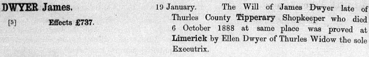 James Dwyer probate from The Calendar of Wills and Administration 1858-1920
