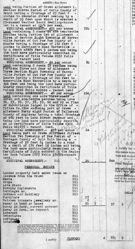 James Eason Cook Assets 1910 c