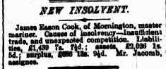 James Eason Cook Insolvency The Argus 20 Nov 1880
