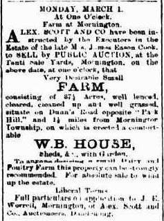James Eason Cook Sale of Farm Mornington Standard 25 Feb 1897 c