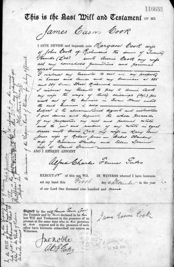 James Eason Cook's Will
