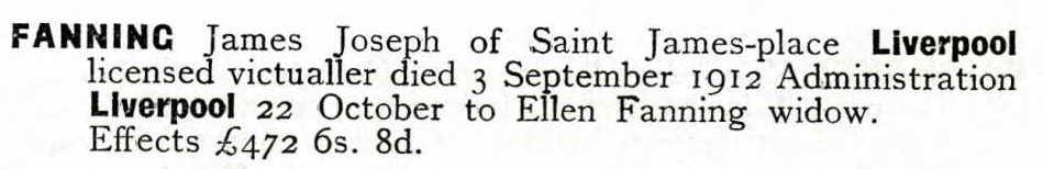 James Joseph Fanning 1869-1912 Will Liverpool cr